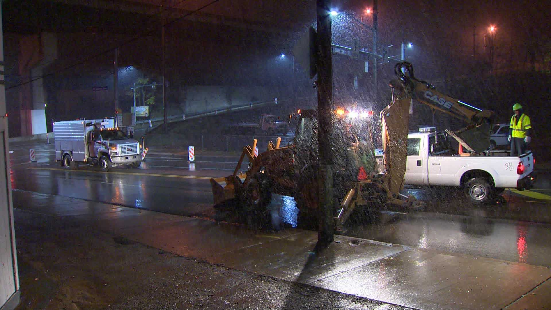 A water main break closed the southbound lanes of West Liberty Avenue near the Liberty Tunnels.