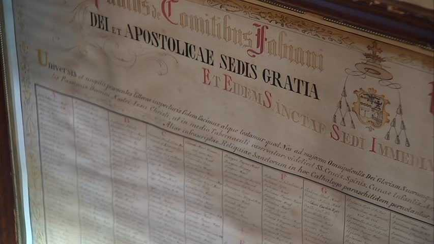 Here's a close-up of a document that proves that a relic is what they say it is. Each relic comes with an authentic from the Vatican.
