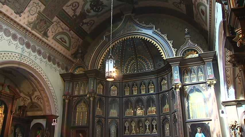An interior shot of Saint Anthony's Chapel in Troy Hill.