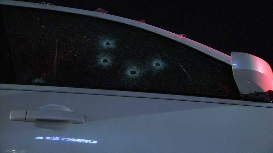 Jamar Hawkins was shot in this car on Saltsburg Road in Penn Hills after stopping to get groceries on his way home from work Thursday night.