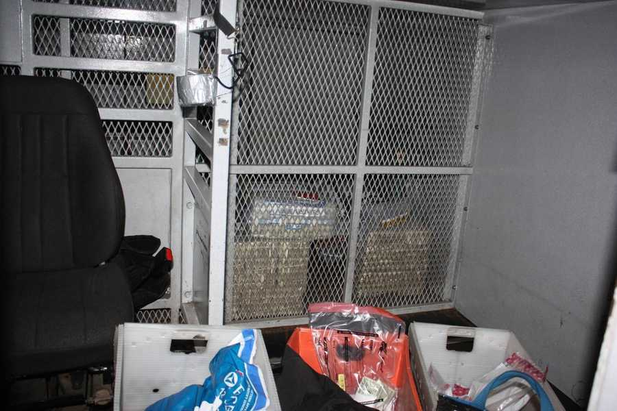 The following three photos show the inside of the Garda armored truck after the killing of Michael Haines. The prosecution used these as evidence to show that the truck was undisturbed and there could not have been a struggle, as the defense claimed.