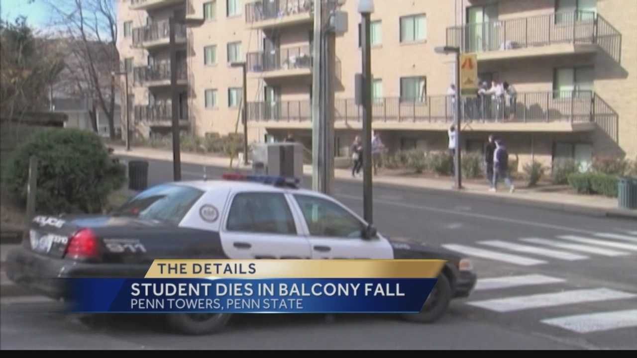 Penn State student Conor Macmannis fell off a balcony at the off-campus apartment building.