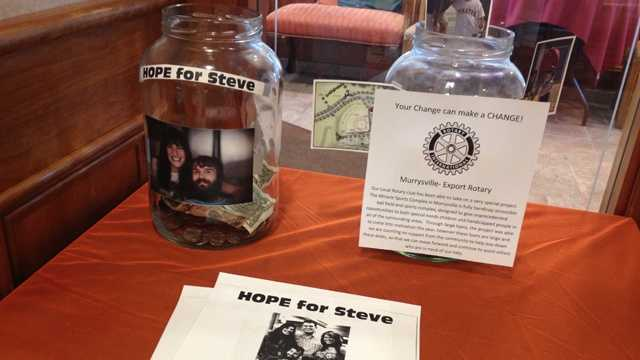 "A ""Hope For Steve"" donation jar to collect money for ALS patient Steven Dezember."