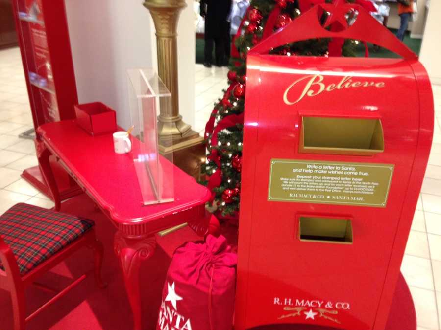 Kids can write a letter to Santa Claus and drop it in this box at Macy's to have it delivered to the North Pole.