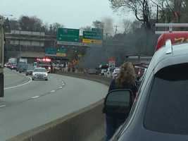 An accident on the Parkway East (Interstate 376) near the Squirrel Hill Tunnels was causing traffic backups Thursday afternoon.