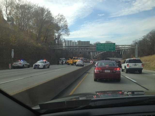 State police were advising drivers to take alternate routes because all lanes approaching the outbound tunnel were shut down.