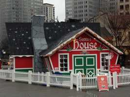 Santa's House in Market Square is ready for kids to visit.