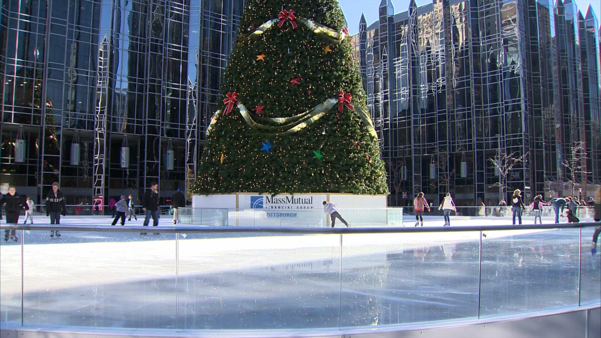 The MassMutual Pittsburgh Ice Rink at PPG Place is always a favorite spot for ice skating during the holiday season.
