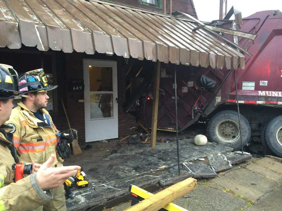 A truck crashed into a house at Seventh Street and Conrad Avenue in North Charleroi.