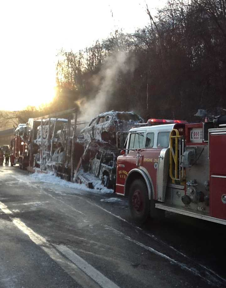 The turnpike was shut down between the Beaver Valley and Cranberry interchanges because a car carrier caught fire.