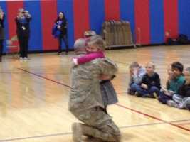 """A first-grader got the surprise of her life when the """"mystery reader"""" at Chartiers Valley Primary School turned out to be her father, who had been serving in Afghanistan."""