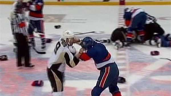 A large fight between the Penguins and the Islanders on Feb. 11, 2011, resulted in 65 penalties being assessed, including 15 fighting majors and 21 game misconducts.