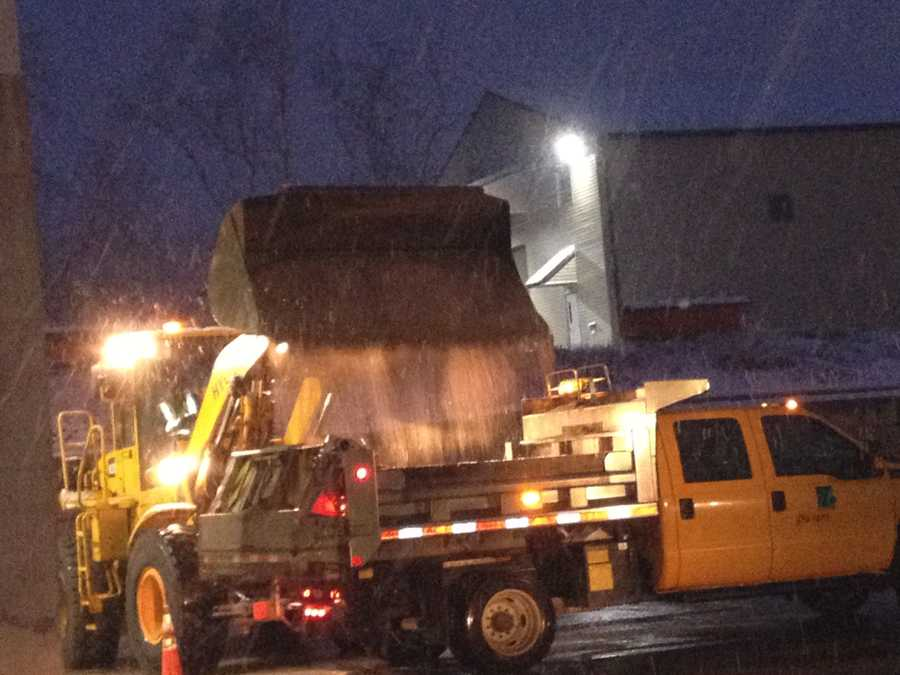 Salt trucks were loaded up before they set out onto the roads early in the morning.