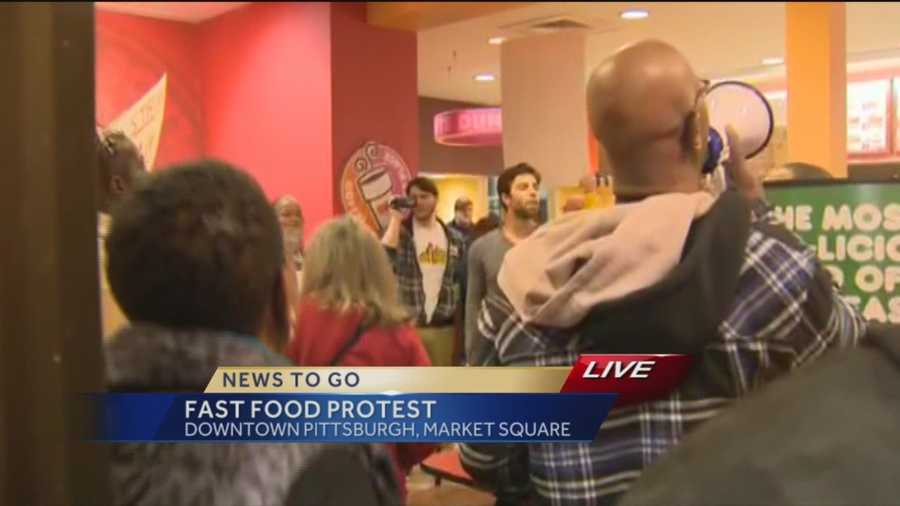 Another protest was held at Dunkin' Donuts in Market Square.