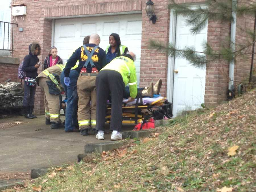 One person was placed on a stretcher.