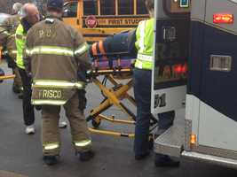 The patient was taken away in an ambulance.