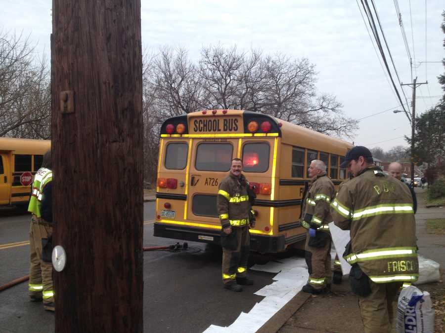 Some students were on the school bus. No student injuries were reported.