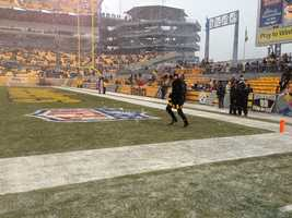 "Pittsburgh native and ""True Blood"" star Joe Manganiello runs onto the field to lead the Terrible Towel Twirl."