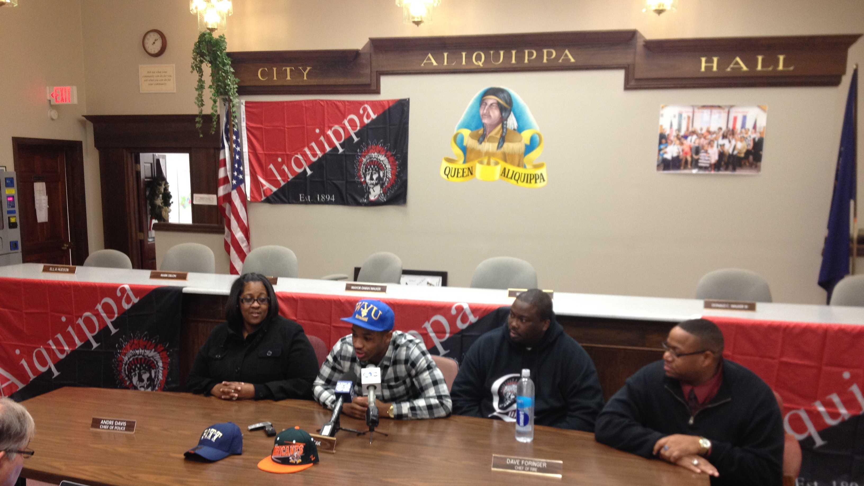 Dravon Henry announced his commitment to play football at West Virginia University during a news conference at the Aliquippa Municipal Building.