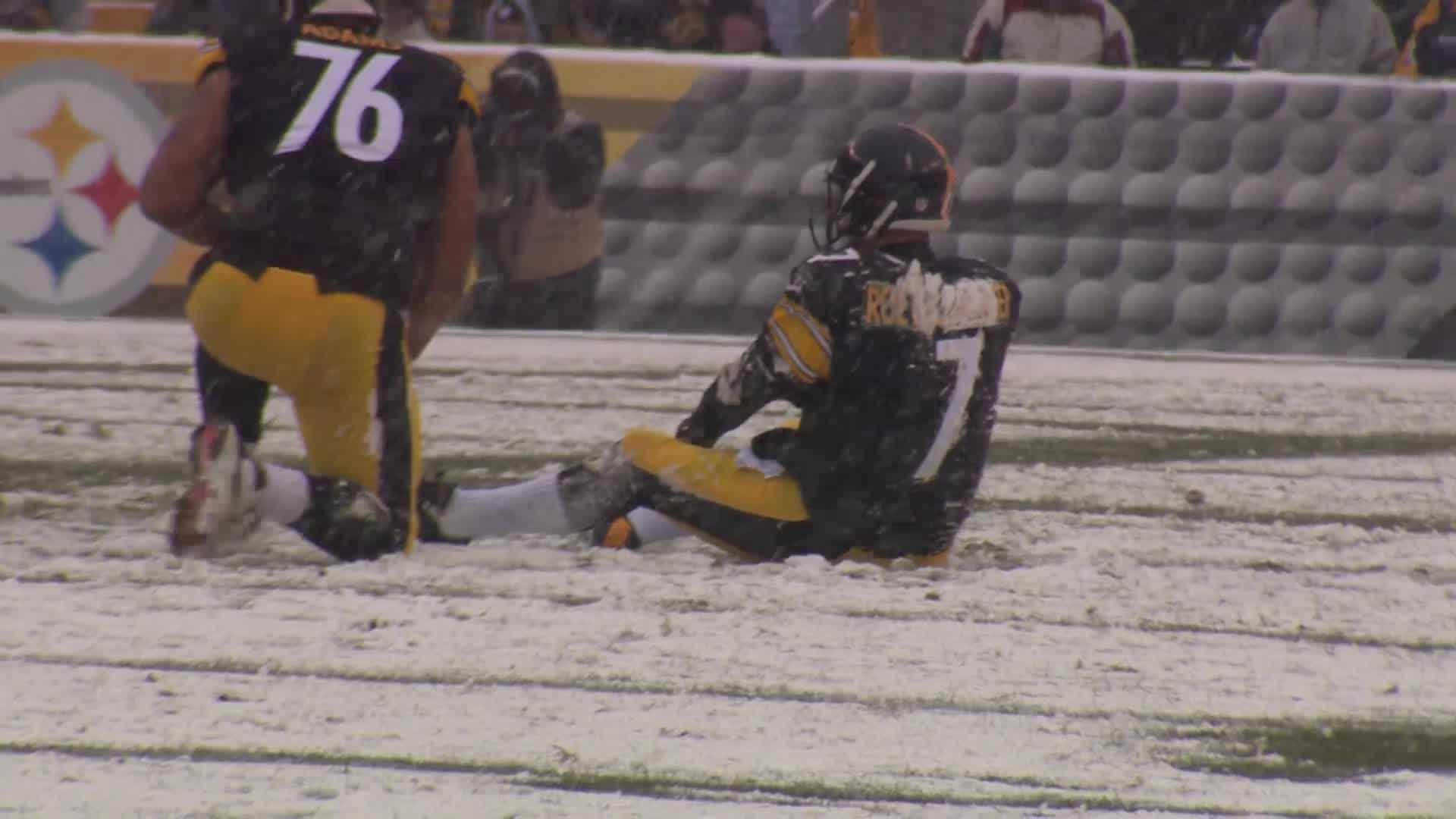 Ben Roethlisberger sitting on field in snow