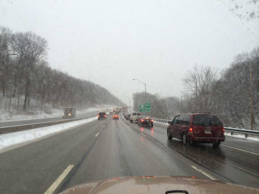 Parkway East inbound, about 2 miles east of Penn Hills exit.