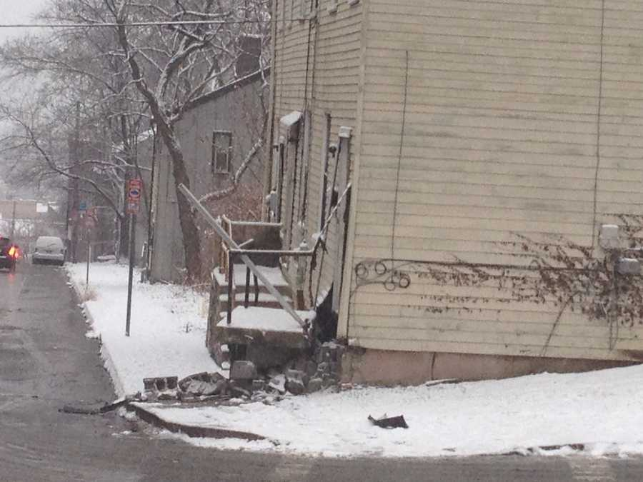 A vehicle hit this home on Federal Street on the North Side.