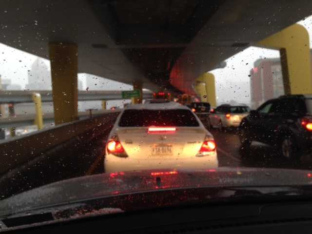 Traffic is congested on the Fort Duquesne Bridge.