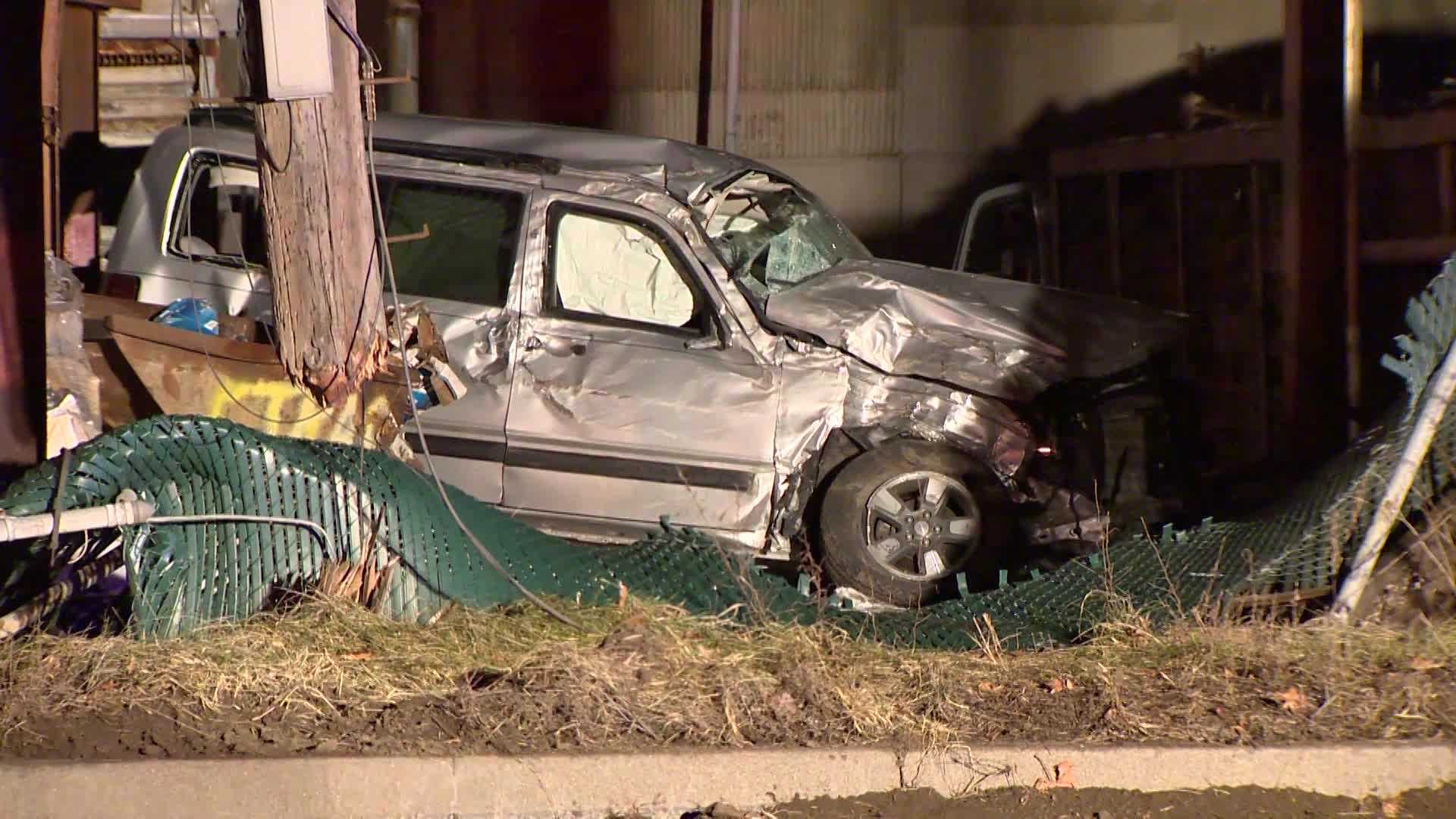 A fiery crash sent the driver of an SUV to a hospital.