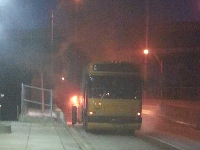 A Port Authority bus caught fire on the West Busway in Carnegie.
