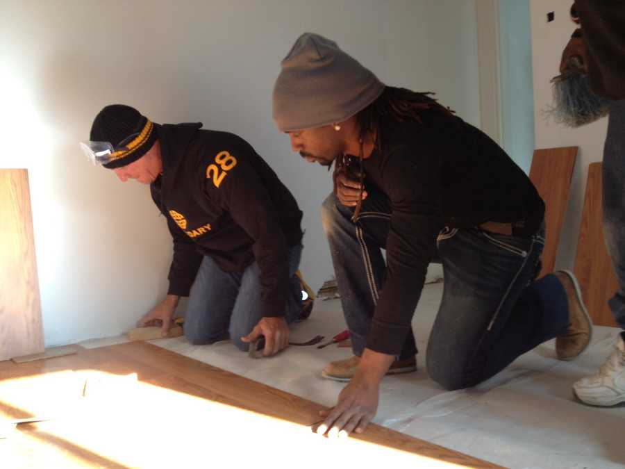 Andrew McCutchen (right), Jaff Decker, Jared Hughes and Bryan Morris joined bench coach Jeff Banister and broadcaster Bob Walk on a Habitat for Humanity rehab project in Sharpsburg.VIDEO: Watch the report
