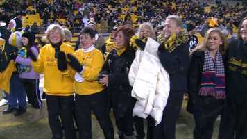 Olympic gymnast Shawn Johnson teamed up with the Steelerettes to lead the Terrible Towel Twirl before Sunday night's game against the Cincinnati Bengals at Heinz Field.
