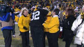 And Hall of Fame running back Franco Harris greeted them with plenty of hugs.