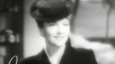 "Screenshot of Joan Fontaine from the trailer for the 1939 film, ""The Women."""