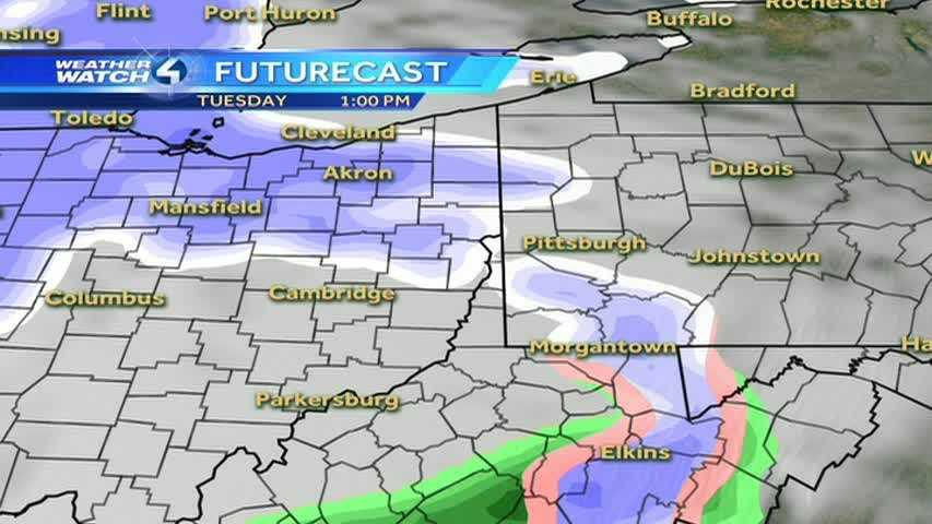 Remember, snow is represented by the colors of purple and white in this weather model.