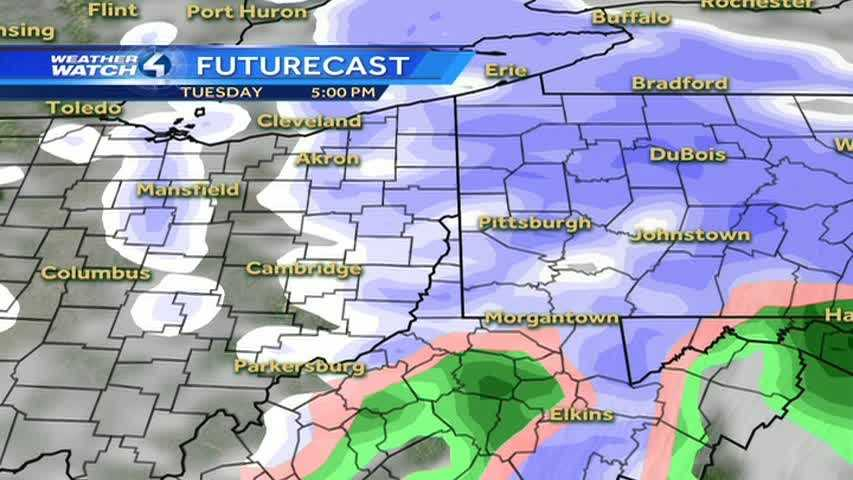 According to this model, you can see how the snow will be right here in the Pittsburgh area for the evening rush hour.