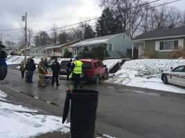 Police said the woman was de-icing the vehicle on Beverly Road and forgot that it was in drive.