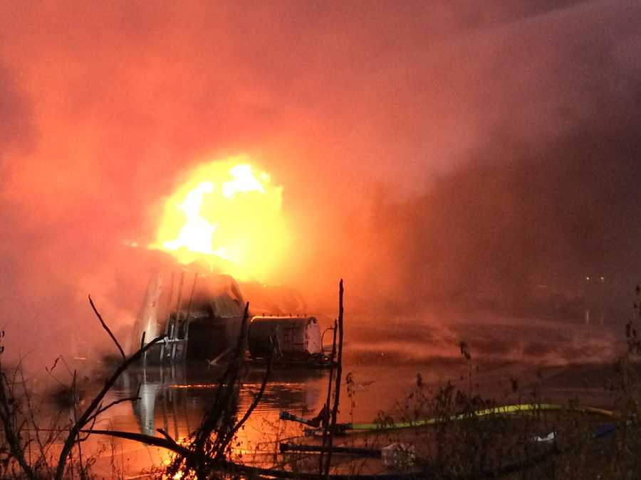 Popping noises were heard inside as a huge fire broke out at the warehouse filled with fuels in Homer City.