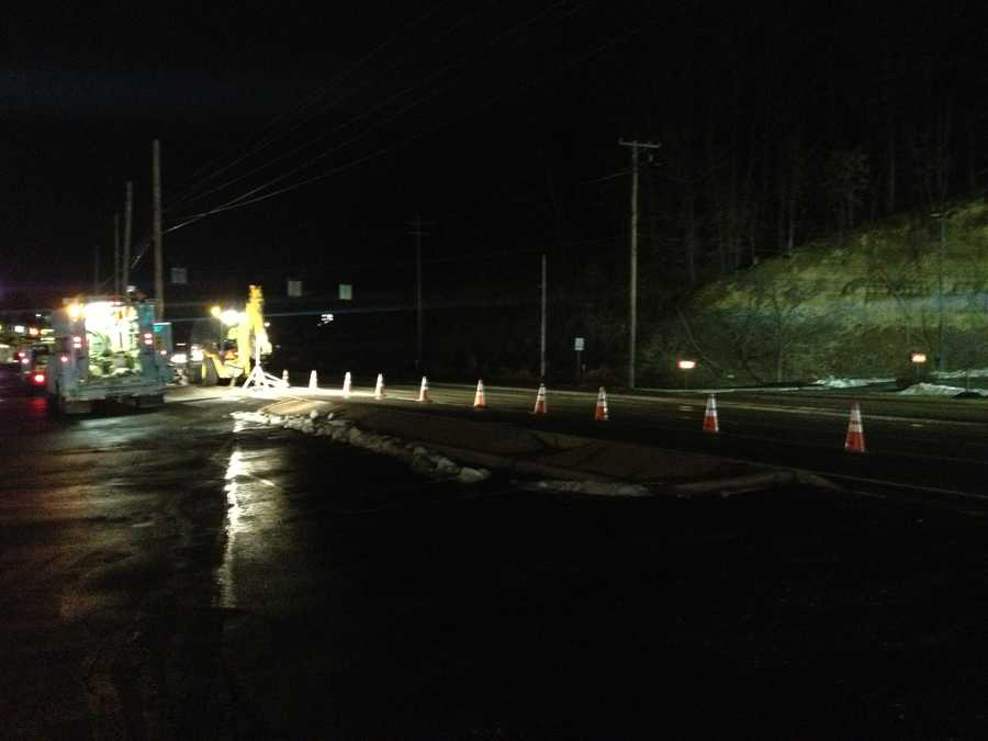 Two southbound lanes were closed as the water company responded to the water main break in the 7700 block of McKnight Road.