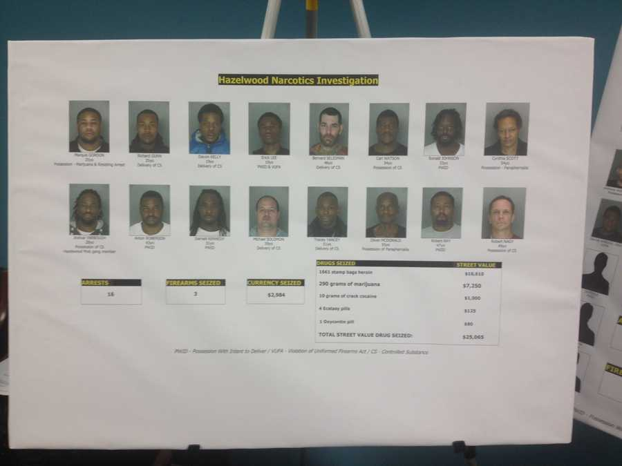 Pittsburgh police said all of these people are facing charges as the result of a long-term narcotics investigation in Hazelwood.