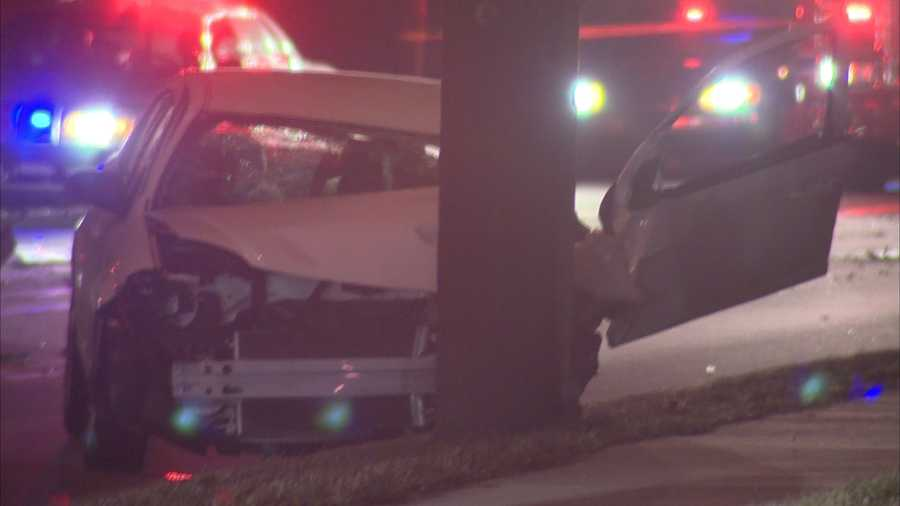 The driver crashed into a pole, bringing down wires. Walnut Street had to be shut down for a short time after the crash.