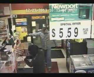 State police in Indiana County are reviewing surveillance video in hopes of finding two men who held a convenience store clerk at gunpoint while they stole money and cigarettes.