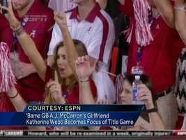 #7 National championship makes QB's girlfriend Twitter starThe Tide rolled, but Katherine Webb was the real star of the national championship game. ESPN kept showing her cheering in the crowd, and the beauty queen gained tens of thousands of new Twitter followers. CLICK HERE TO WATCH THE VIDEO