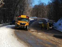The driver of a car died in a crash with a school bus in New Kensington, Westmoreland County.