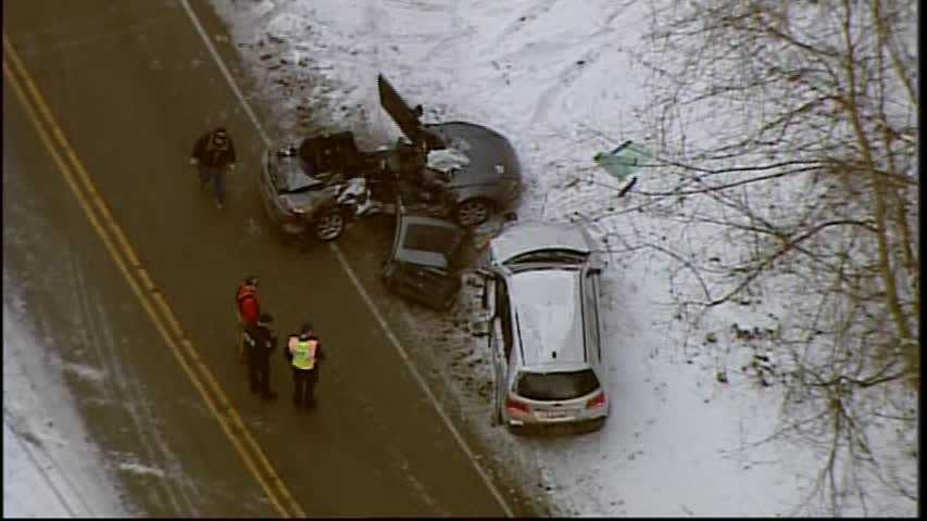 Sky 4 flew over the scene shortly before 5 p.m., where the two vehicles were resting on the side of the roadway and debris was scattered on the snow-covered grass.