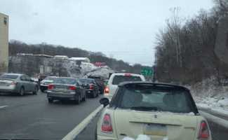 One driver reported that traffic was at a standstill for more than an hour. State police began walking through the stopped traffic and telling drivers to back up.