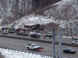 A tractor-trailer and an SUV were involved in the crash, which happened about 1/4 mile before the I-376 Business Loop (Exit 57).