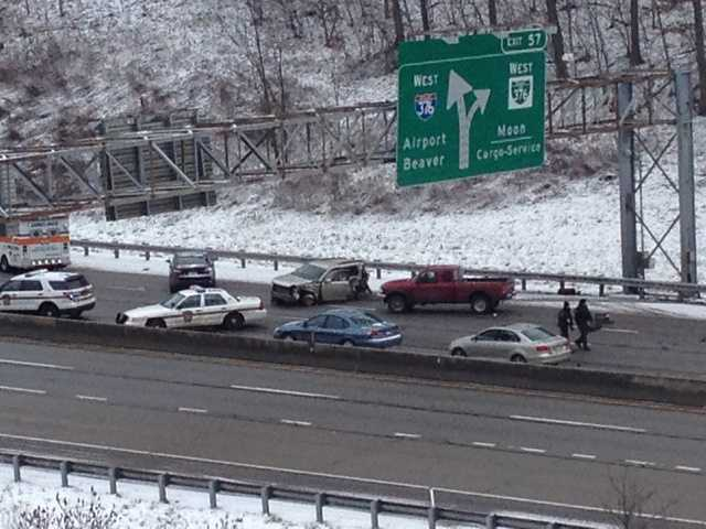 A multi-vehicle crash closed the westbound lanes of Interstate 376 (Parkway West) in Moon Township.