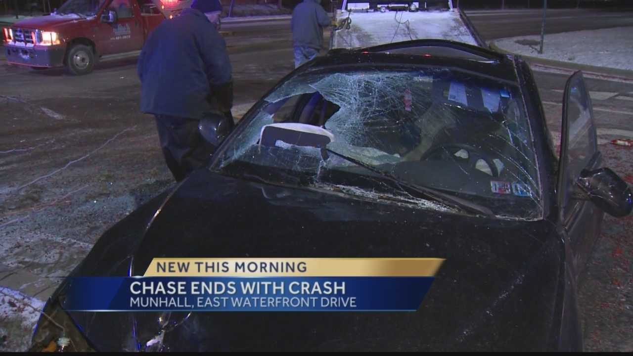A police chase ended when the vehicle being pursued flipped over.