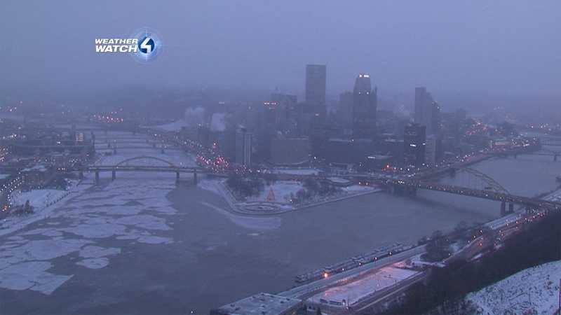 Chunks of ice formed in the Allegheny River in Pittsburgh.