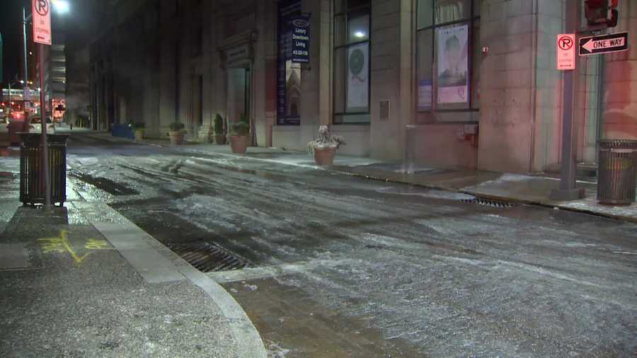A water main break turned Fourth Street near Wood Street into a sheet of ice early Wednesday morning.